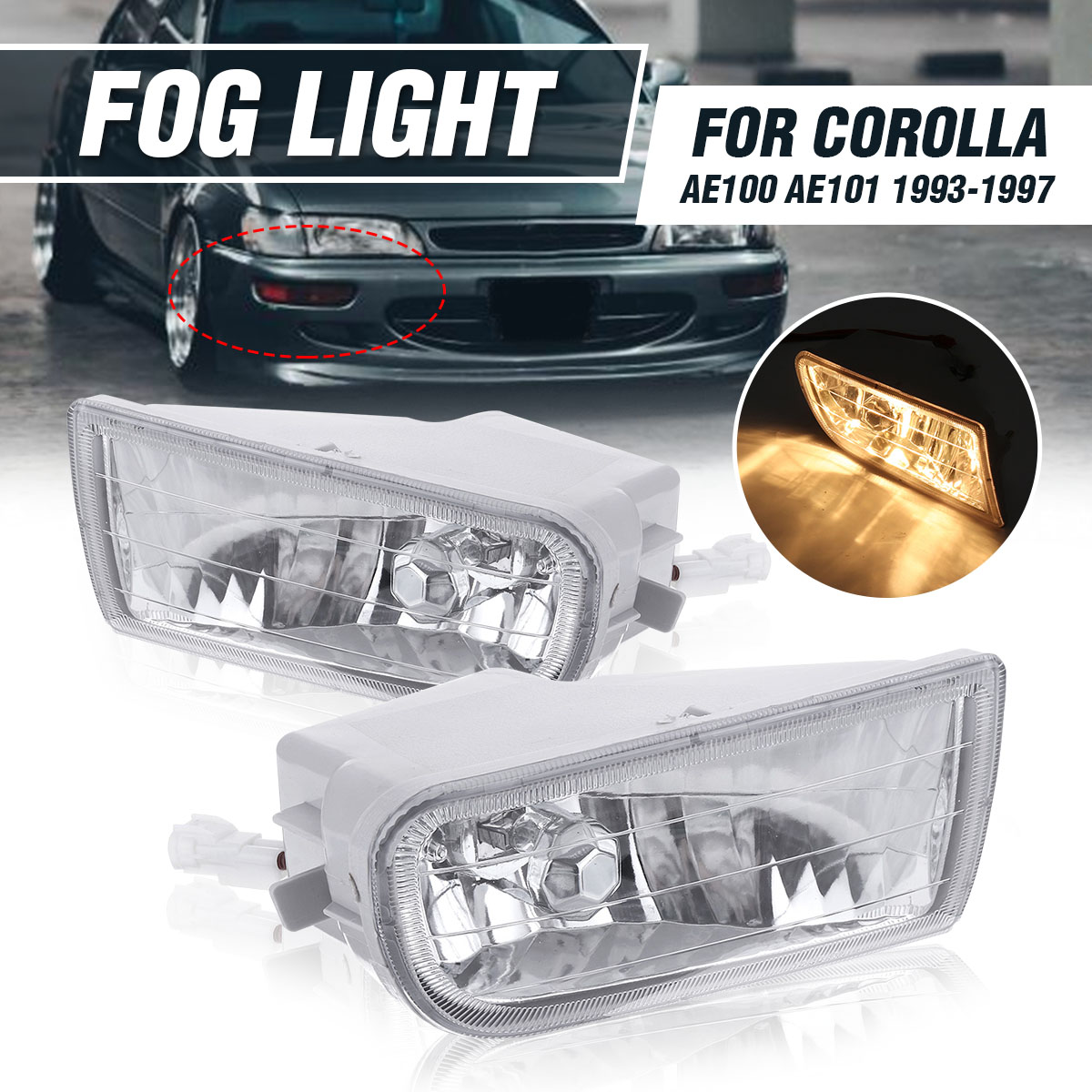 New Pair Car Front Bumper LED Fog Lights Fog Light Lamp With Bulb For <font><b>Toyota</b></font> <font><b>Corolla</b></font> AE100 <font><b>AE101</b></font> 1993-1997 A1649060451 image