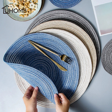 6pcs set Round Ramie Insulation Pad Solid Placemats Linen Non Slip Table Mats Kitchen Accessories Decoration Home Pad Coaster cheap YIBO CN(Origin) Eco-Friendly Stocked Modern Mats Pads 18cm 36cm