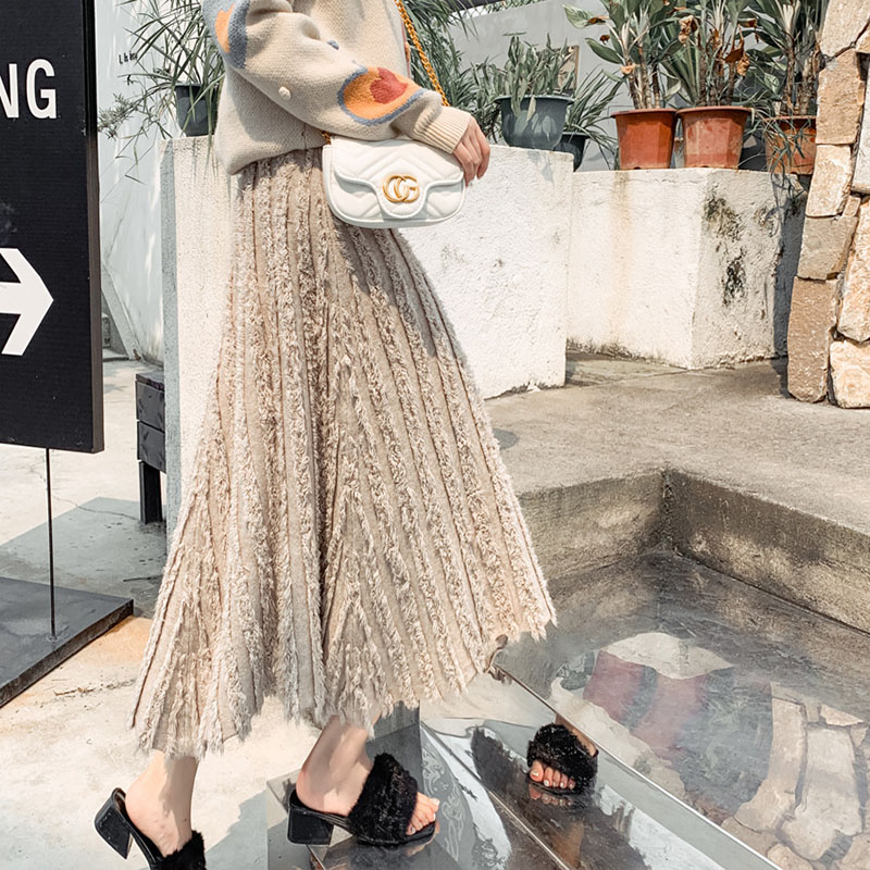 Women's Long Knit Skirt Korean New Irregular Tassel A-line Skirt Autumn Winter Elastic High Waist Thick Swing Skirts Falda ML343