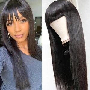 Парики из натуральных волос с челкой, прямые кружевные передние Hd фронтальные полноразмерные бразильские волосы для женщин, 30-дюймовый пар...