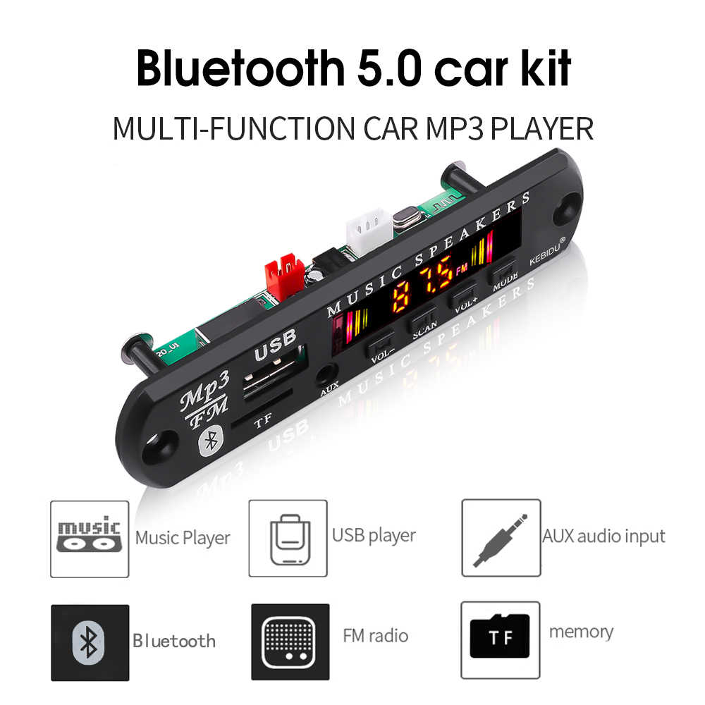 MP3 Modul Bluetooth 5.0 Receiver Mobil Kit MP3 Pemain Decoder Papan Warna Layar FM Radio TF USB 3.5 Mm AUX audio untuk iPhone X