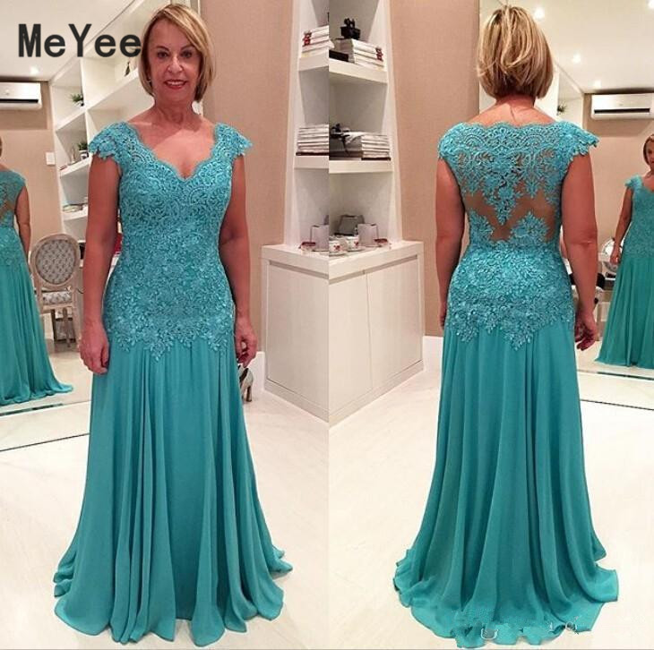 Chiffon Mermaid Mother Of The Bride Dresses V Neck Lace Appliques Beaded Long Evening Prom Dress Wedding Party Guest Gowns