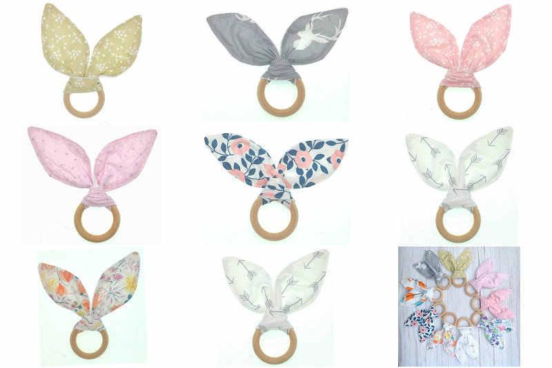 Bayi Kelinci Telinga Teether Aman Organik Kayu Teething Ring Ikan, Kotak-kotak, Pilihan Warna, shower Hadiah