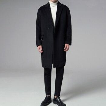 Men's windbreaker 2020 spring new style plus cotton woolen coat loose solid color windbreaker youth fashion trend men's clothing