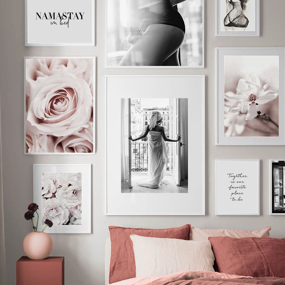 Blossom Rose Flower Paris Fashion Girl Wall Art Canvas Painting Nordic Posters And Prints Wall Pictures For Living Room Decor