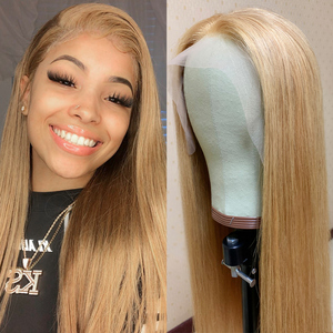 Lace Front Human Hair Wigs Colored 27 Honey Blonde Wig 13x4 Ombre Human Hair Wig 150% Remy Preplucked Lace Wig For Black Women(China)