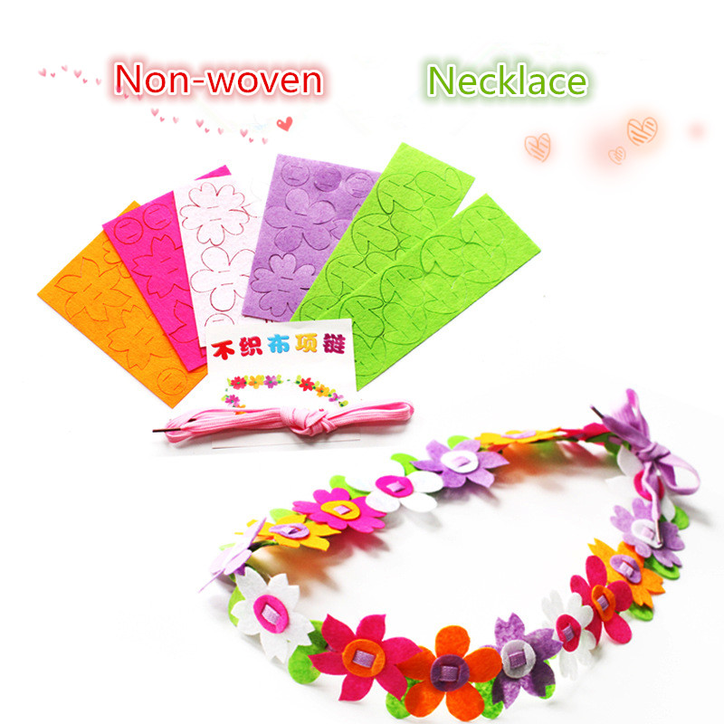 DIY Non-woven Necklace Flower Wreaths Handmade Craft Toys Kids DIY Material Bag Creative Children's Day Gift