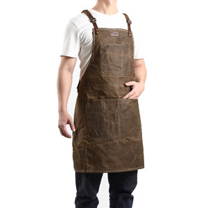 A015 Tool Apron Oil Wax Canvas With Leather Apron Gardening Aprons Tool Barbecue Barber Carpenter Painter Repairman's clothes(China)
