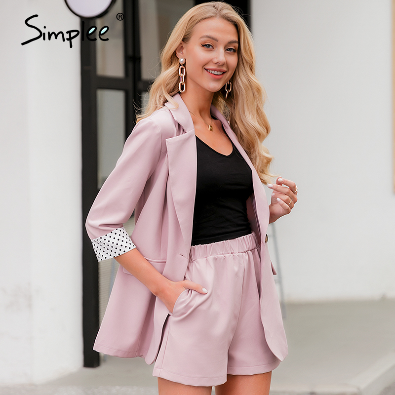 Simplee Elegant Two-piece Women Blazer Suit Button Pockets Polka Dot Female Blazer Shorts Set Spring Summer Office Ladies Suits