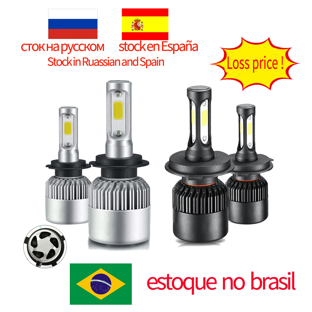 Brazil Russian Spain Stock Car Headlight H7 LED H4 H1 9007 9005 H3 H13 9004 880 72W 8000LM 12V Auto Headlamp 6500K Light Bulb