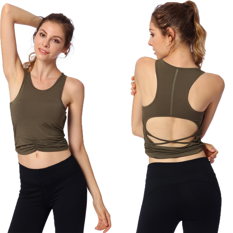 Bihuo Curve Elastic Top Sleeveless Sexy with Padded <font><b>Push</b></font> <font><b>Up</b></font> Sport Quick Dry Fitness Gym Running sportswear <font><b>shirts</b></font> image