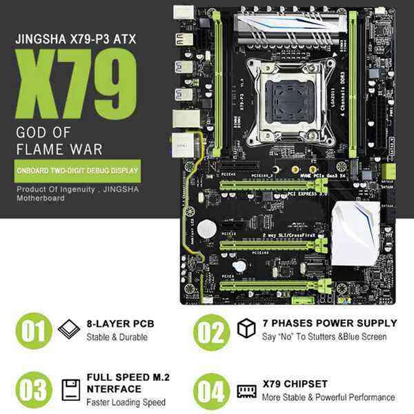 X79-P3 Gaming Motherboard Lga 2011 Atx Support For Intel Xeon Core Cpu 4 X 32Gb 128Gb Ram Memory Pci-E X16 For Server Desktop