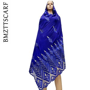 Image 1 - High Quality Chiffon Scarf mulim women embroidery chiffon splice tulle material big size scarf for shawls BM742