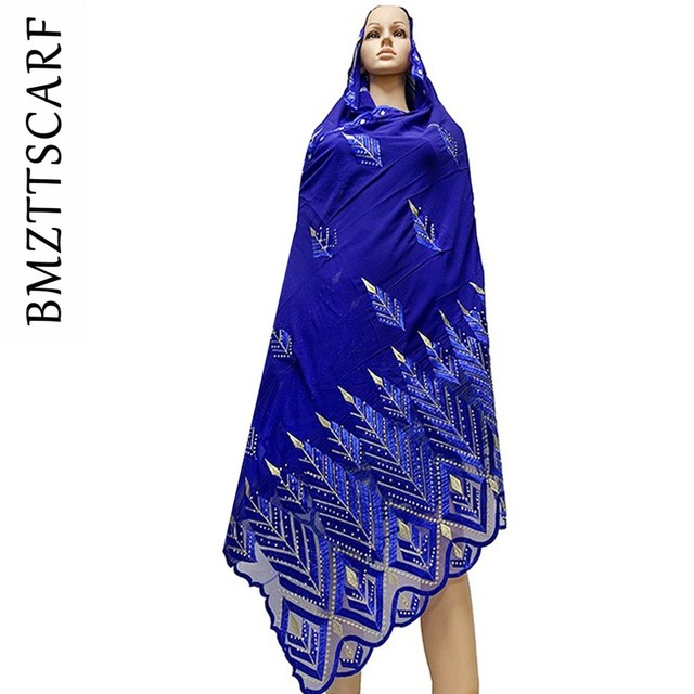 High Quality Chiffon Scarf mulim women embroidery chiffon splice tulle material big size scarf for shawls BM742