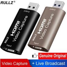 Rullz Mini 4K 1080P HDMI к USB 2,0 3,0 карта видеозахвата игровая записывающая коробка для компьютера Youtube OBS потоковая трансляция в прямом эфире