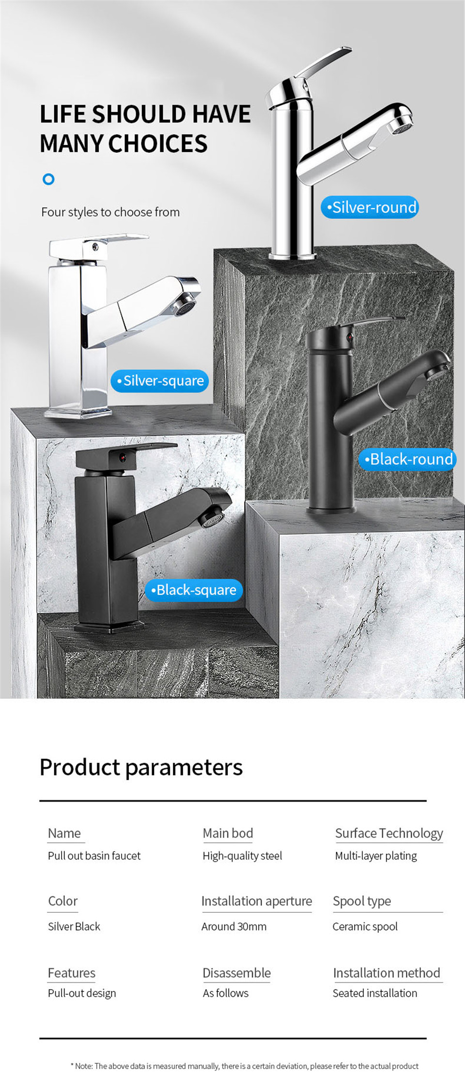 H64e4f53cd72d401cb0e04901078463a8V XUNSHINI Bathroom Kitchen Basin Faucet Single Handle Pull Out Spray Sink Tap Hot And Cold Water Crane Deck Mount Faucets