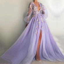 Party-Dress Prom-Gowns Evening-Dresses 3d-Flowers Graduation Eightale Formal Purple V-Neck