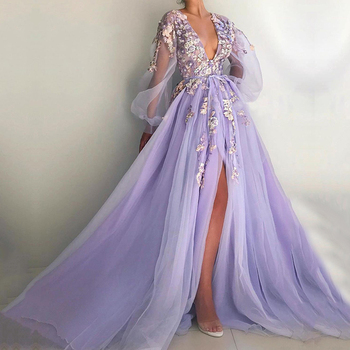 Eightale Purple Evening Dresses V-Neck Long Sleeves Prom Gowns 3D Flowers Tulle Side Split Formal Party Dress for Graduation purple geometrical pattern round neck long sleeves christmas dress
