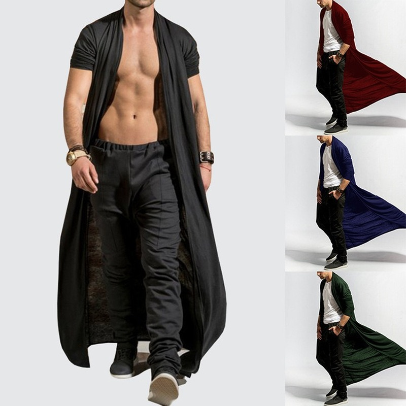 Gothic Men's Long Coat Spring and Autumn Slim Long Trench Coat Men's Solid Color Thin Section Casual Trench Coat New Mens Jacket