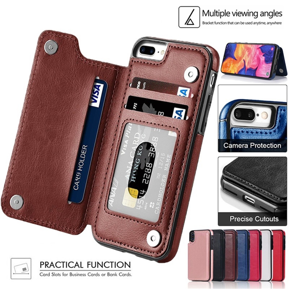 High Grade Leather Case Card Slots For iPhone SE 6S 7 8 Plus XR XS 11 Pro Max Wallet Case For Samsung A50 A70 A51 A71 S20 Plus