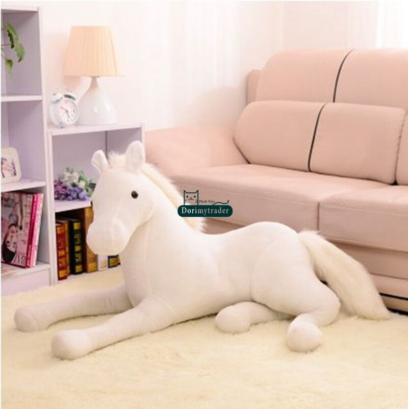 130cm X 60cm géant doux cheval en peluche émulationnel animaux en peluche jouets poupée cadeau mignon en peluche jouets point - 4