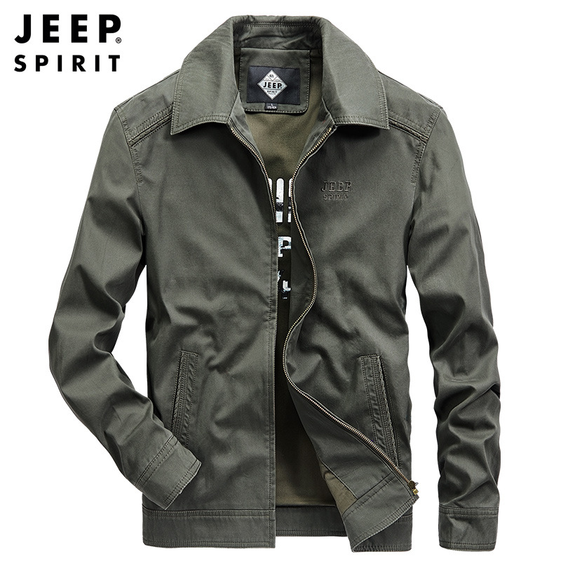 JEEP SPIRIT Brand Jacket Men Casual Fashion Military Jackets Coats Turn Down Collar Cotton Jacket Chamarras Para Hombre M-4XL