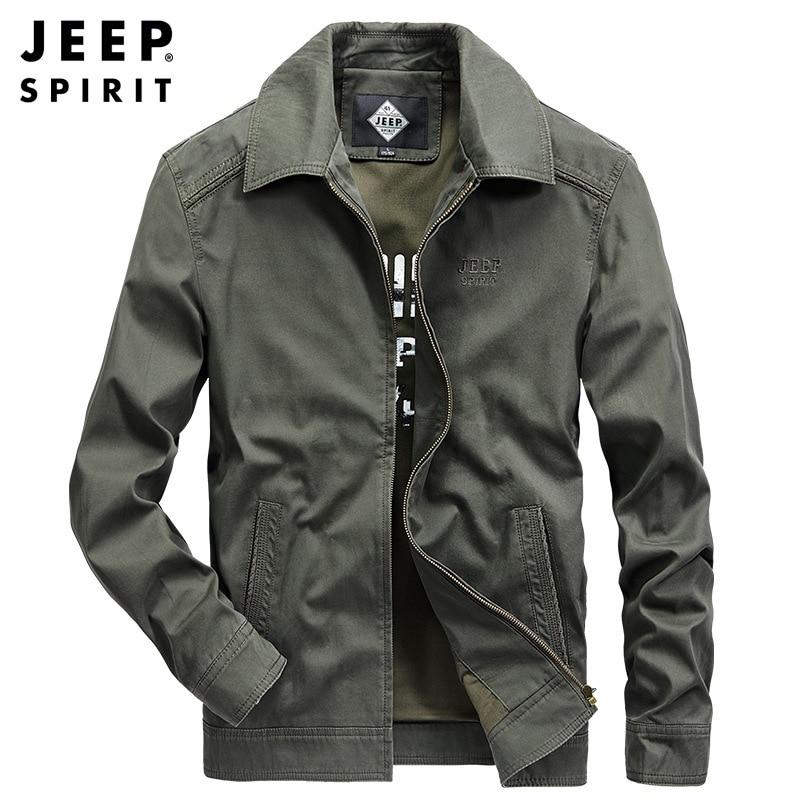 JEEP SPIRIT Brand Jacket Men Casual Fashion Military Jackets Coats Turn Down Collar Cotton Jacket Chamarras Para Hombre M-4XL