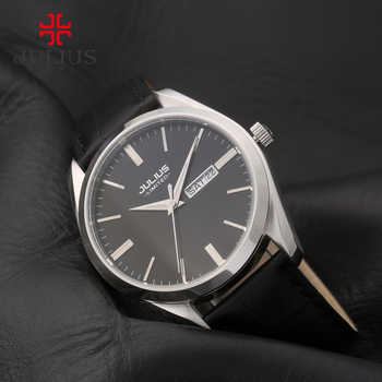JULIUS Marke Logo Klassische Unisex Stahl Lederband Auto Datum Tag Business Uhr Männer Silber Rose Gold Wasserdicht Whatch JAL