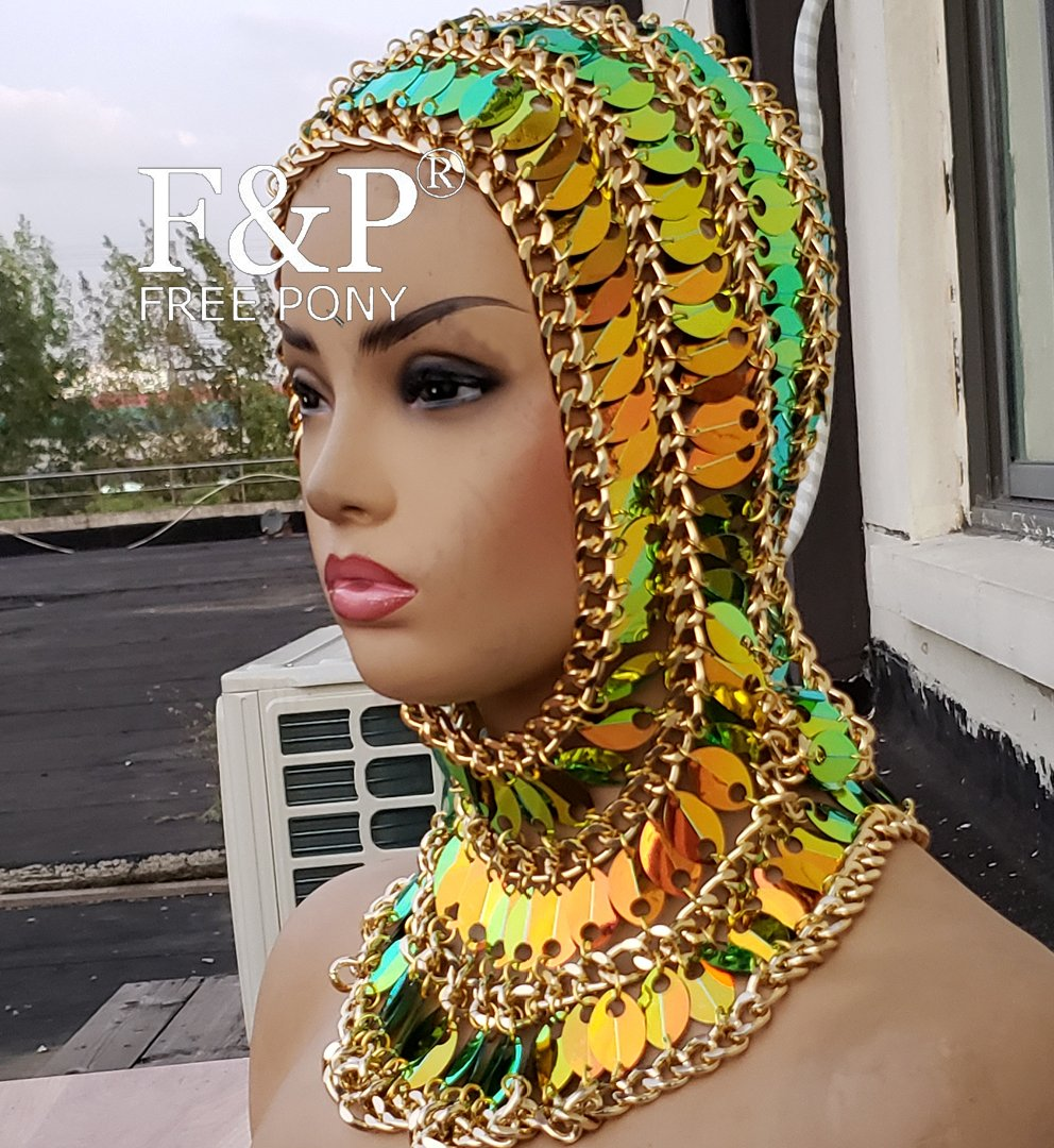 Burning Man Festival Gold Hood Chain Couture  Headpiece Carnival Drag Queen Costume Gogo Dancer Stage Halloween Accessories