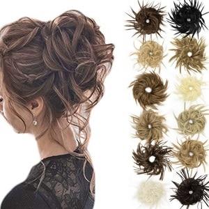 SHANGZI Girls Curly Scrunchie Chignon Messy Elastic Band Hair Bun Straight Updo Hairpiece High Temperture Fiber Natural Fake