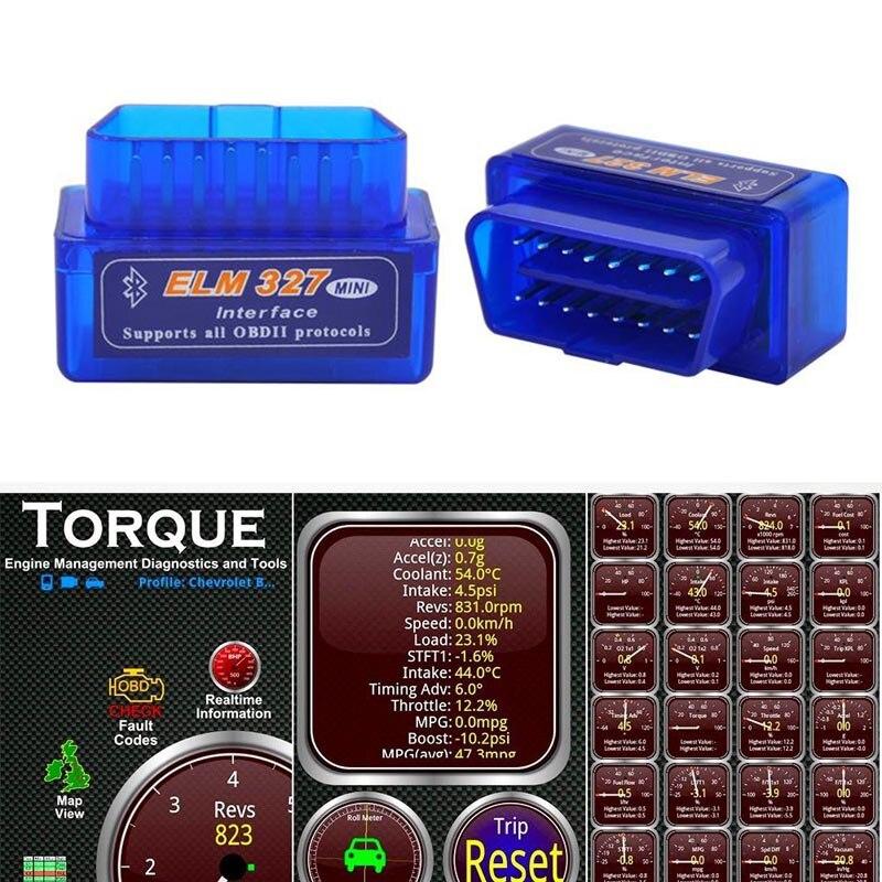 2019 Super Mini ELM327 Bluetooth V2.1 OBD2 herramienta de diagnóstico del coche ELM 327 Bluetooth para Android/Symbian OBDII Protocolo Coche Mini portátil ELM327 V2.1 OBD2 II Bluetooth diagnóstico coche Auto interfaz escáner azul Premium ABS herramienta de diagnóstico