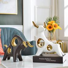 Escultura de resina de boi decoração para casa estátua de touro sala de estar estatueta de gado ornamento desktop artesanato abstrato animal touro escultura