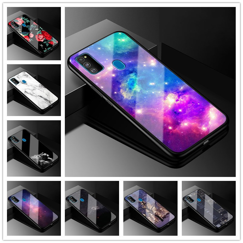 For <font><b>Samsung</b></font> <font><b>M30S</b></font> <font><b>Case</b></font> 6.4'' Tempered <font><b>Glass</b></font> Hard Back Cover For <font><b>Samsung</b></font> Galaxy <font><b>M30S</b></font> Phone <font><b>Case</b></font> <font><b>m30s</b></font> M 30S Coque 2019 Soft Bumper image
