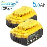 Waitley 2Pack 18V 5.0Ah MAX XR Battery Replacement for DeWalt DCB180 DCB181 DCB182 DCB200 DCB184 18Volt 18 v Power Tool Battery