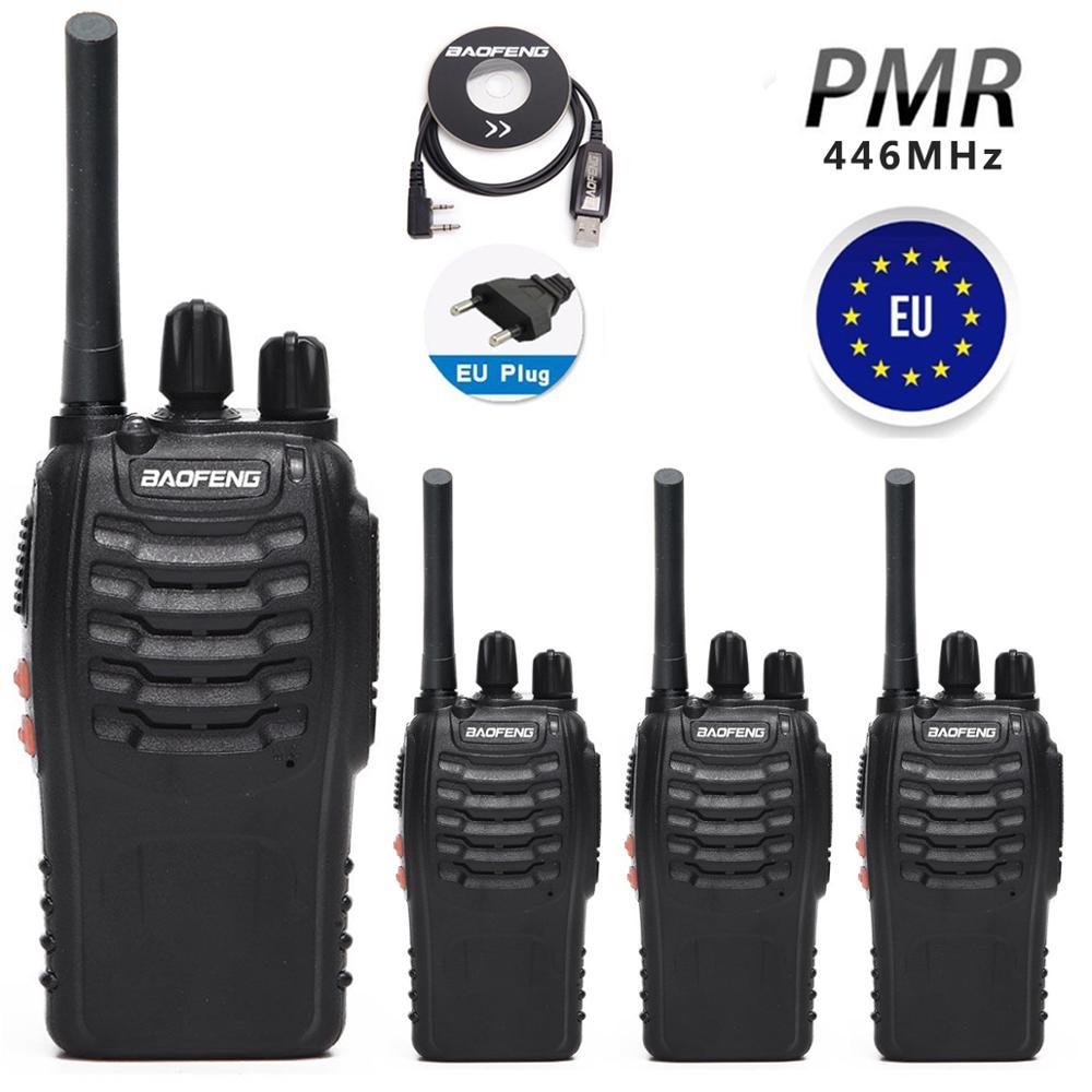"""4 шт. Baofeng BF-88E PMR446 иди и болтай Walkie Talkie """"иди и обновленная версия 888S UHF 446 МГц Портативный двухстороннее радио с USB Зарядное устройство для ЕС п..."""