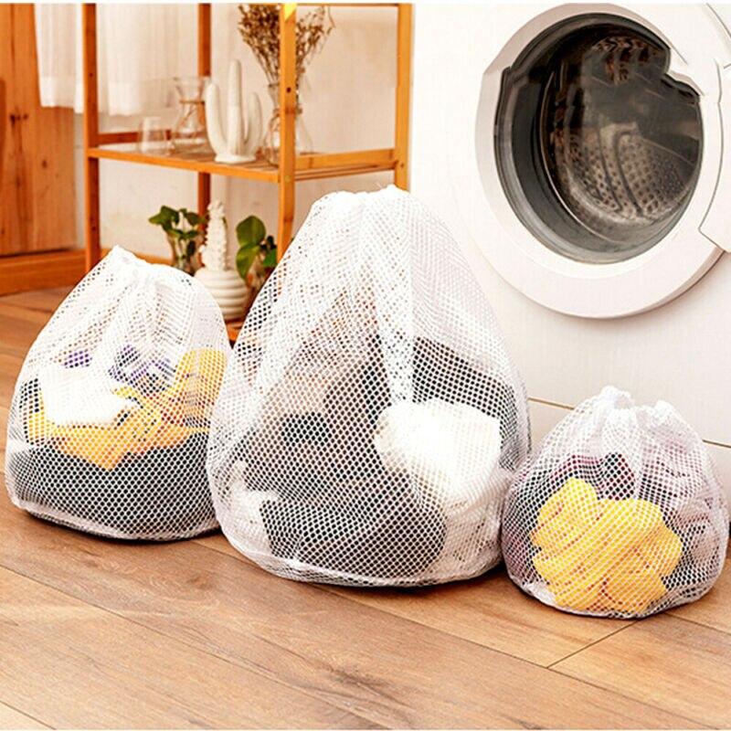 Washing Machine Drawstring Mesh Net Bags Laundry Bag Large Thickened Wash Bags D