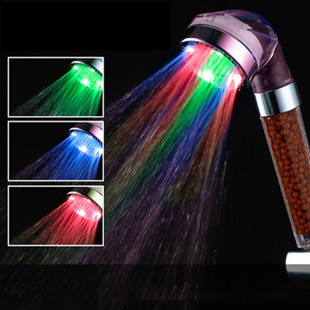 Светодиодный садка для душа, LED анионный душ, насадка для душа, спа, экономия воды под давлением, контроль температуры, цветной ручной большо...