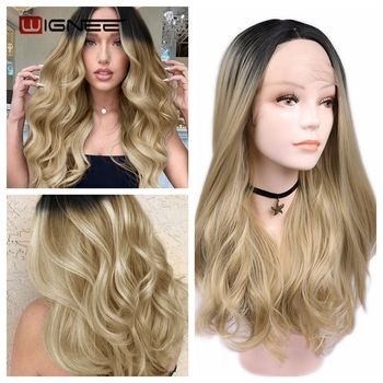 цена на Wignee Long Wavy Lace Front Synthetic Wig For Women Natural Hairline Ombre Ash Blonde/Brown Middle Part Natural Daily/Party Wigs