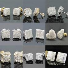 Hip hop geometria quadrado iced para fora bling brincos de ouro micro pave zircão cúbico brinco para homem e mulher moda jóias