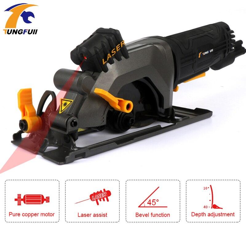 600W DIY Mini Cirkelzaag met Laser Multifunctionele Handheld Elektrische Kettingzaag Draagbare Flip Chip Snijmachine Houtbewerking - 4