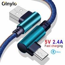 Olnylo микро USB кабель 90 градусов Быстрое зарядное устройство зарядный кабель для Huawei USB шнур микро кабель для передачи данных для Samsung HTC Android телефон