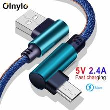 Olnylo micro cabo usb 90 graus carregador rápido cabo de carregamento para huawei cabo usb micro cabo de dados para samsung htc telefone android