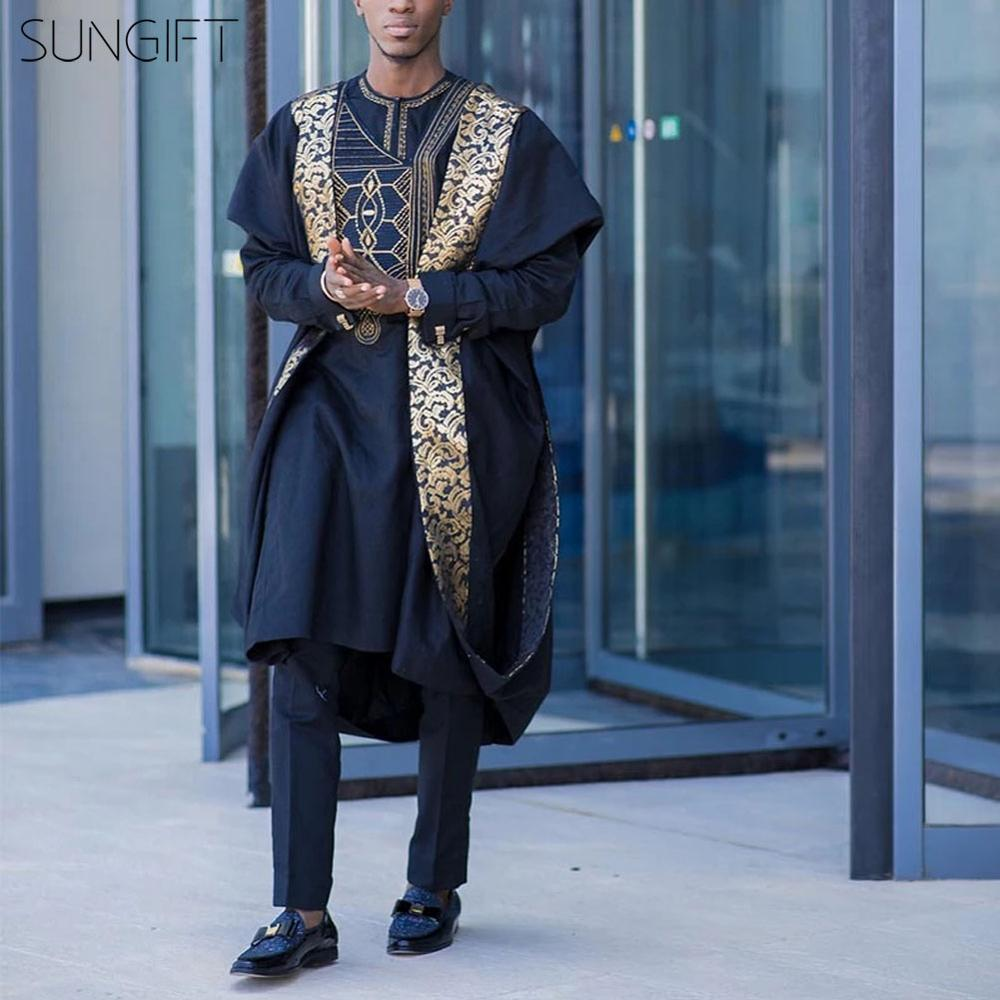 SUNGIFT Men's African Traditional Clothing Printed Agbada Dashiki Top Shirts And Pants Boubous Slim Fit Outfits 3 Pieces(M-6XL)