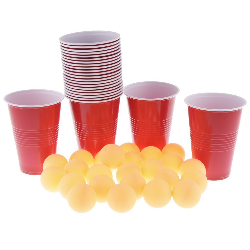 Crazy Fun Game Ping Pong Beer Balls Set Includes 24 Cups+24 Balls, Compact Plastic Material