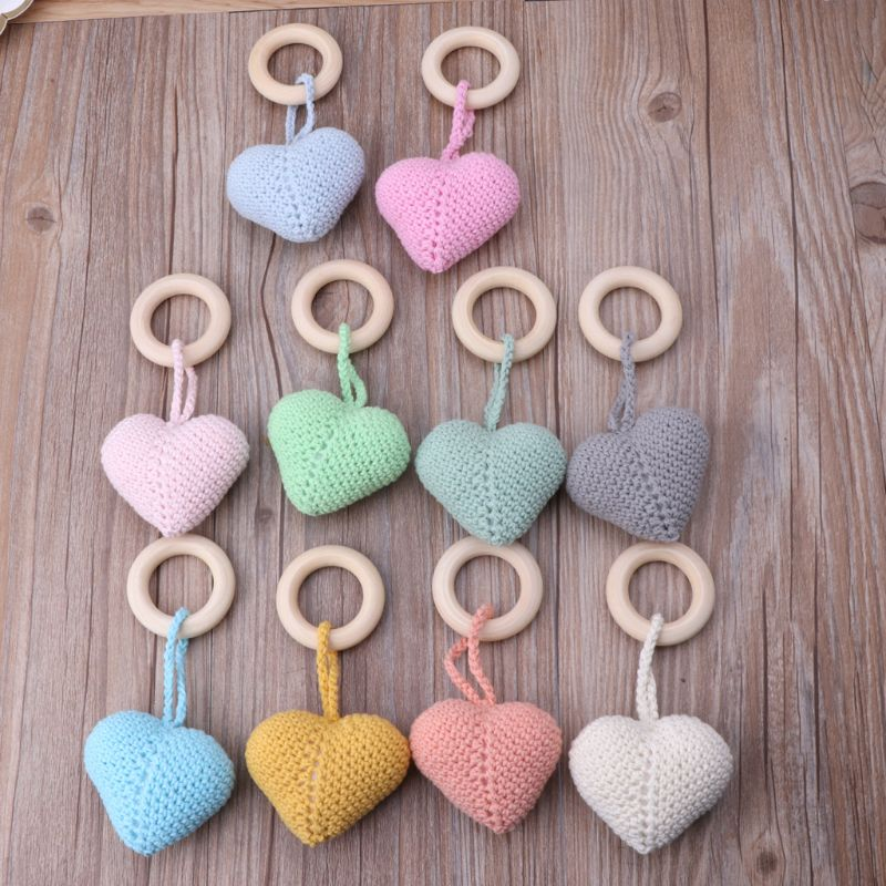 Wooden Natural Crochet Baby Infant Teether Teething Ring Jewelry Teething Toys CORB