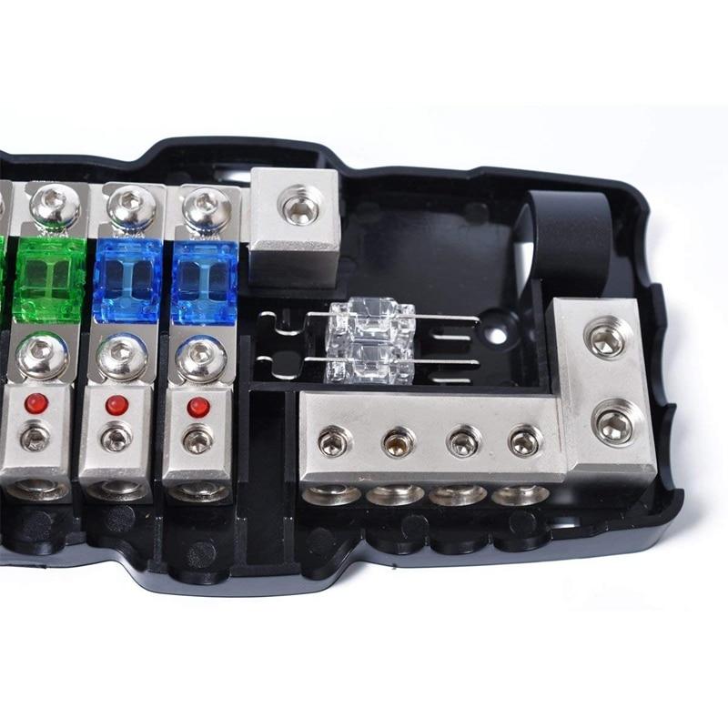 TOOGOO Multi-Functional LED Car Audio Stereo ANL Fuse Holder Distribution 0//4ga 4 Way Fuses Box Block 30A 60A 80Amp