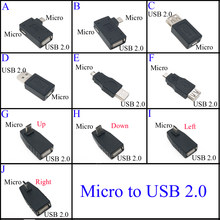 New Black USB 2.0 Type A to Micro USB B Male Female Adapter Plug Converter usb 2.0 to Micro usb connector wholesale 90 Degree
