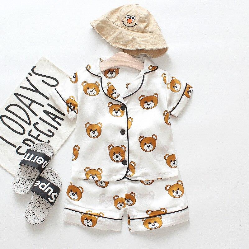 2021 Summer Children's Pajamas Silk Fabrics Bear Cartoon Leisure Tops Men and Children's Short-Sleeved Clothes Suit Piece 2