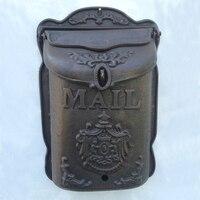 Buzón Vintage de hierro fundido grande para decoración de jardín y hogar, hierro resistente al agua, para colgar