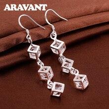 925 Silver Cube Zircon Long Hanging Earring For Women Fine Jewelry